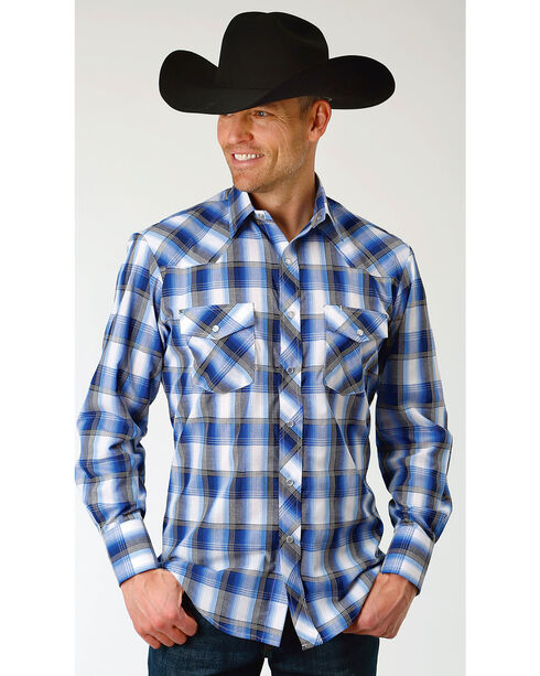 Roper Men's Blue & White Grid Plaid Long Sleeve Snap Shirt - Big, Blue, hi-res