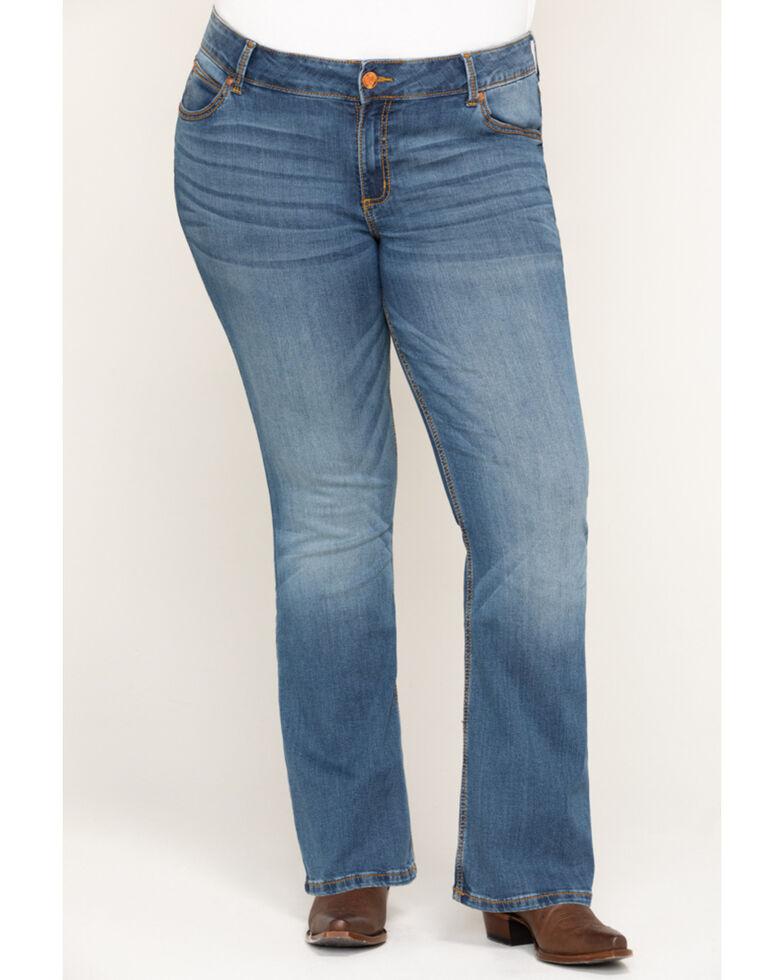 Wrangler Retro Women's Mae Mid Rise Jeans - Plus, Blue, hi-res