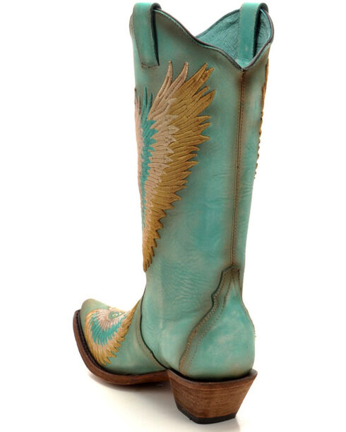 Corral Women's Turquoise Crystal Heart and Wings Embroidered Cowgirl Boots - Snip Toe, , hi-res
