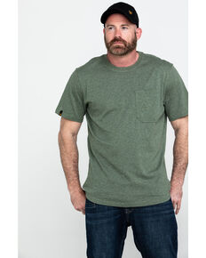Hawx® Men's Green Pocket Crew Short Sleeve Work T-Shirt , Heather Green, hi-res