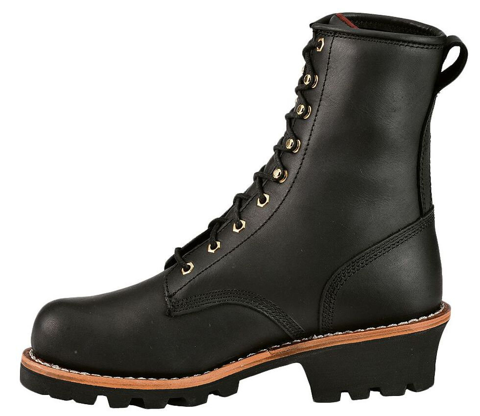 "Chippewa 8"" Lace-Up Logger Boots - Round Toe, Black, hi-res"