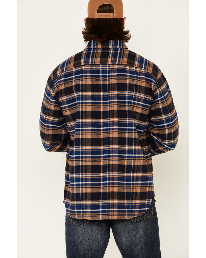 Pendleton Men's Navy Burnside Plaid Long Sleeve Western Flannel Shirt , Navy, hi-res