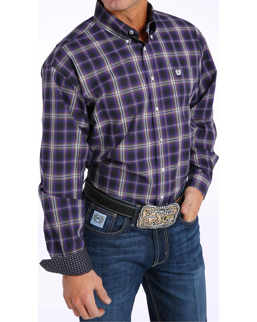 Cinch Men's Classic Fit Plaid Plain Weave Button Down Shirt, Black, hi-res