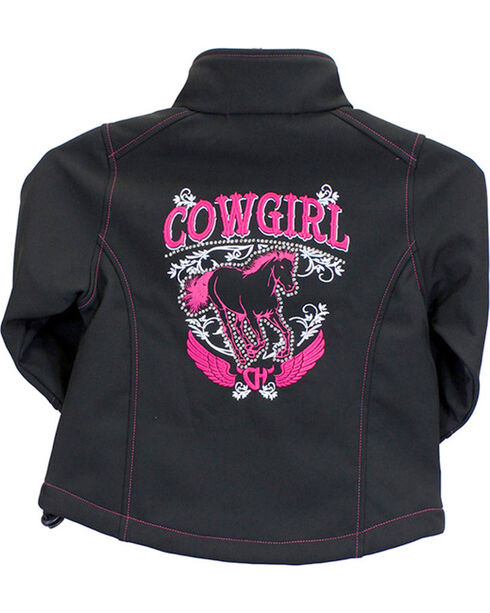 Cowgirl Hardware Toddler Girls' Cowgirl Horse Jacket, Black, hi-res