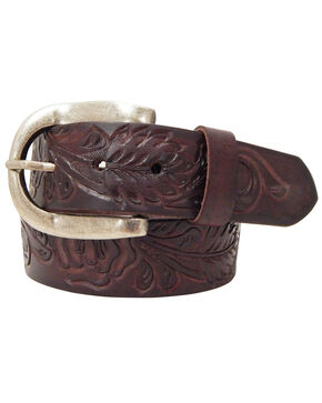 Roper Brown Women's Hand-tooled Leather Belt, Tan, hi-res