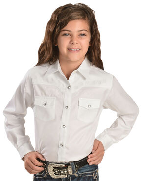 Wrangler Girls' White Tonal Yoke Embellished Shirt, White, hi-res