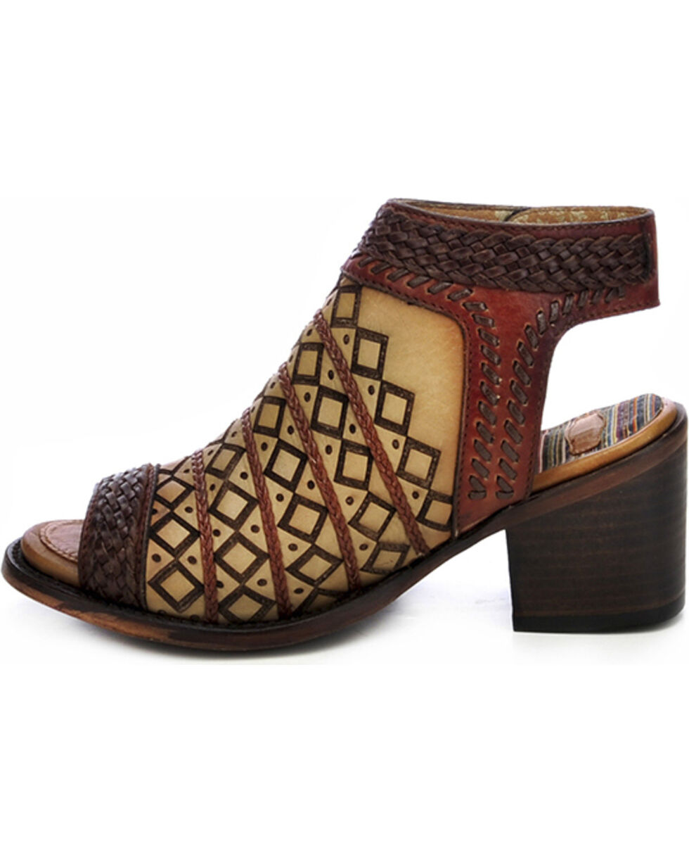 Corral Women's Laser Cut Peep Toe Short Booties, Tan, hi-res