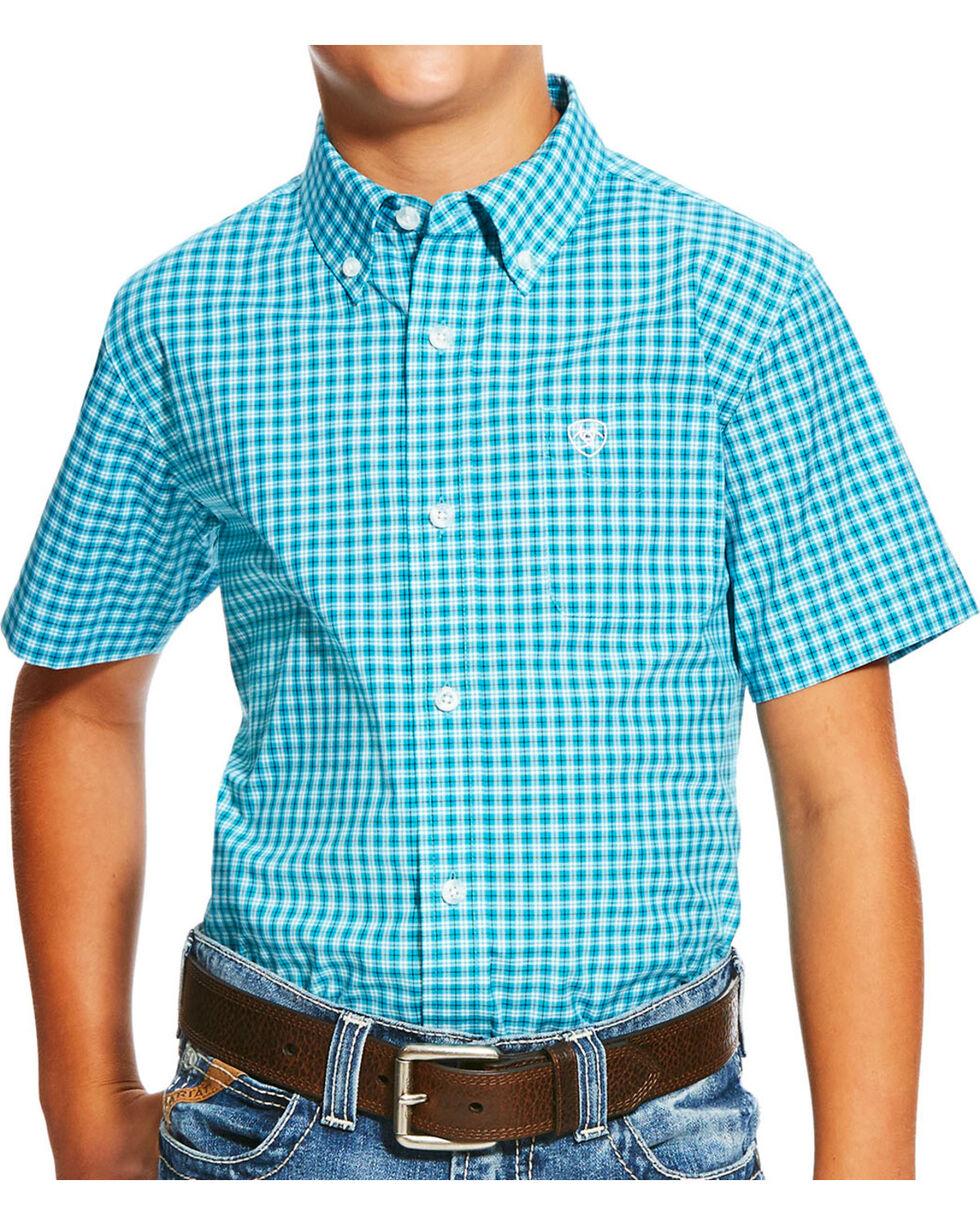 Ariat Boys' Blue Negan Print Short Sleeve Shirt , , hi-res