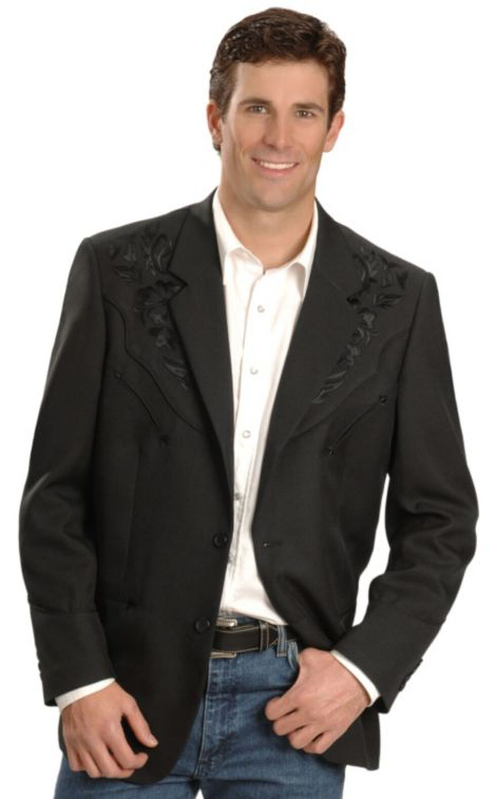 Scully Men's Floral Yoke Blazer - Tall Sizes (40T - 48T), Black, hi-res