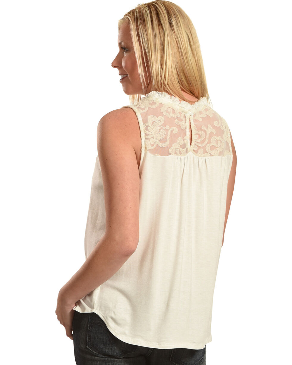 Petrol Women's Lace Sleeveless Top, Ivory, hi-res