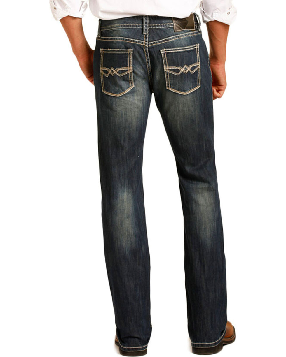 Rock & Roll Cowboy Men's ReFlex Pistol Dark Vintage Wash Jeans - Straight Leg, Blue, hi-res