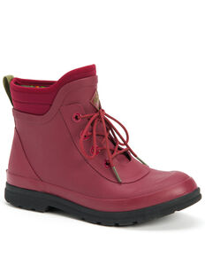 Muck Boots Women's Muck Originals Lace-Up Rubber Boots - Round Toe, Red, hi-res