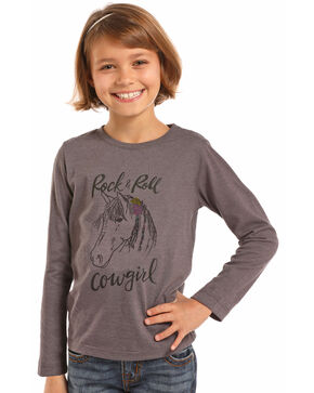 Rock & Roll Cowgirl Girls' Grey Horse Graphic Tee , Grey, hi-res