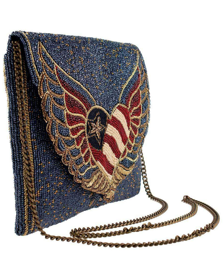 Mary Frances Women's Liberty Beaded Patriotic Heart Crossbody Clutch Handbag, Blue, hi-res