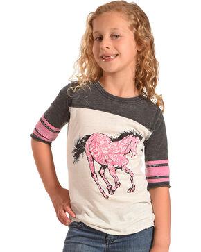 Cowgirl Hardware Girls' Paisley Horse 3/4 Sleeve Shirt, Black, hi-res