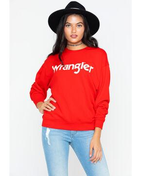 Wrangler Women's Logo Crew Neck Sweater, Red, hi-res