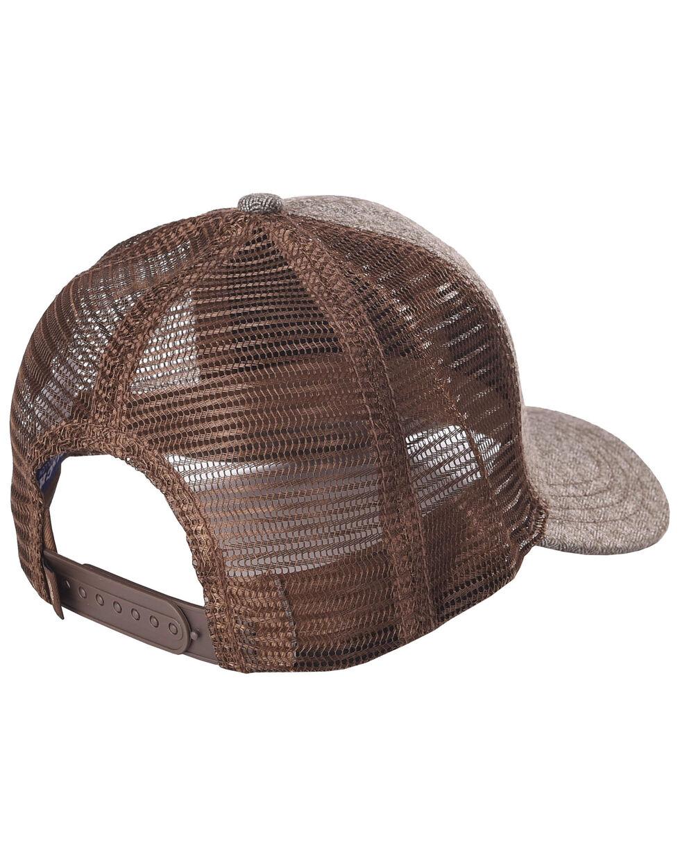 Cinch Men's Embossed Leather Logo Patch Trucker Cap, Brown, hi-res