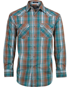 Pendleton Men's Long Sleeve Plaid Western Shirt, Turquoise, hi-res