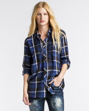 Miss Me Women's Navy Crush Plaid Top , Navy, hi-res