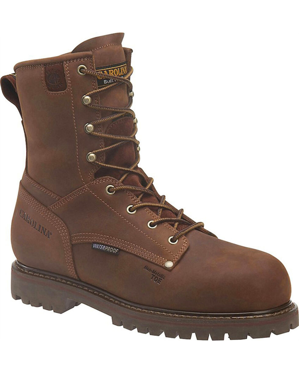 "Carolina Men's 8"" Insulated WP Work Boots - Comp Toe, Brown, hi-res"