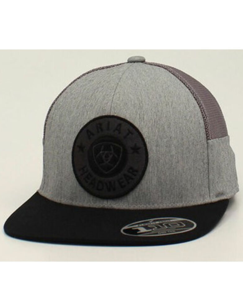 Ariat Men's Grey Round Circle Logo Mesh-Back Ball Cap , Grey, hi-res