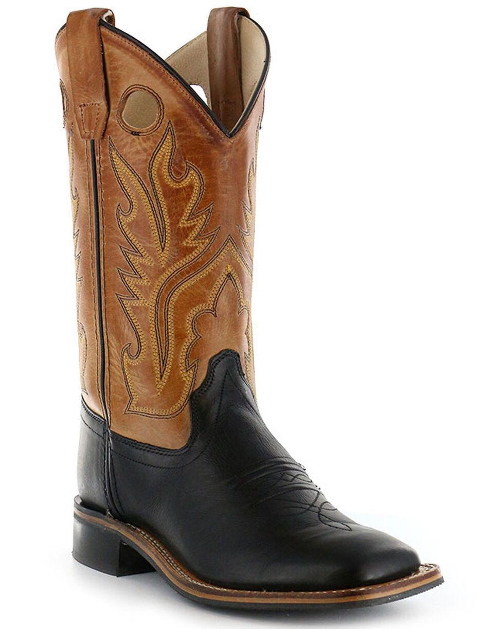 Old West Boys' Black Canyon Tan Cowboy Boots - Square Toe, Black, hi-res