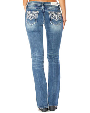 Grace in LA Women's Medallion Embroidered Easy Boot Cut Jeans , Indigo, hi-res