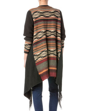 Miss Me Women's Aztec Open Drape Fringe Cardigan, Charcoal, hi-res