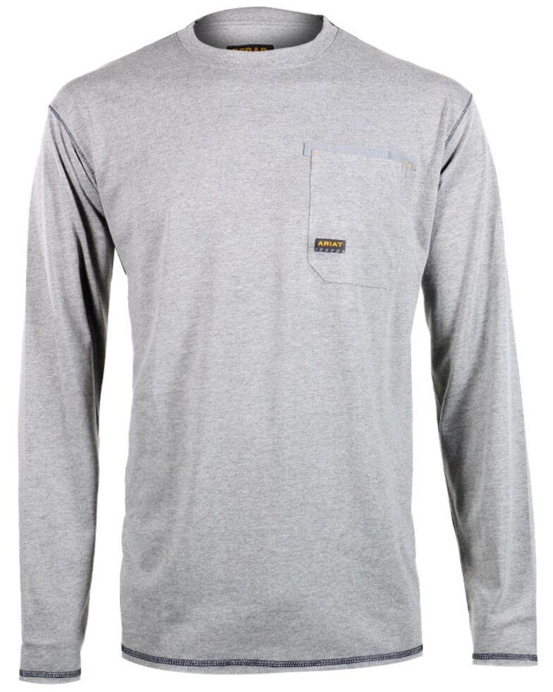 Ariat Men's Rebar Crew Long Sleeve Work Shirt, Hthr Grey, hi-res