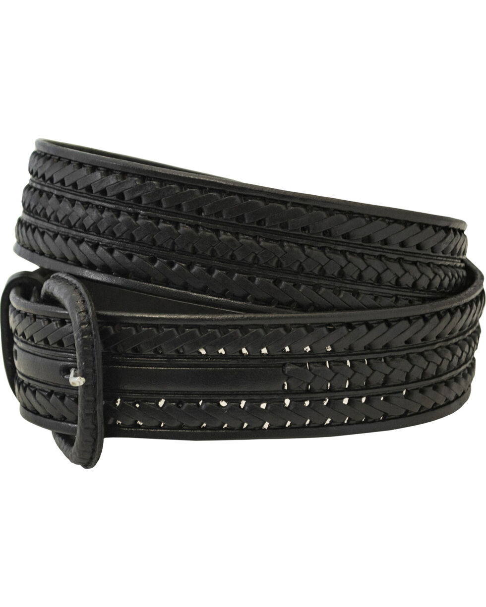 Western Express Men's Braided Leather Belt , Black, hi-res