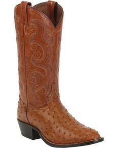 Tony Lama Men's Full Quill Ostrich Cowboy Boots - Round Toe, Peanut Brittle, hi-res