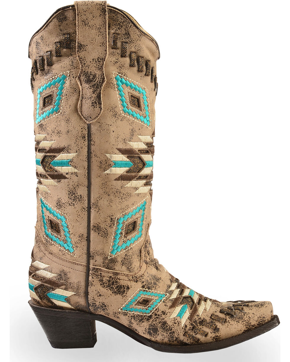 Corral Distressed Aztec Pattern Cowgirl Boots - Snip Toe, Distressed, hi-res