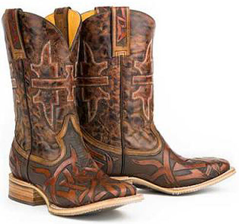 Tin Haul Animal House Stag Cowboy Boots - Square Toe, Brown, hi-res