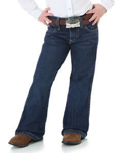 Wrangler Girls' Premium Patch Jeans - Flared Boot Cut , Blue, hi-res