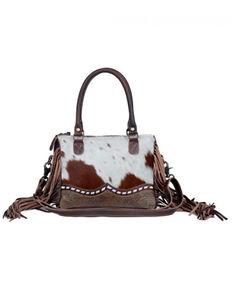 Myra Bag Women's Cowhide Satchel, Brown, hi-res
