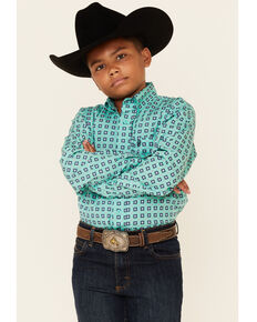 Cinch Boys' Turquoise Geo Print Long Sleeve Button-Down Western Shirt , Turquoise, hi-res