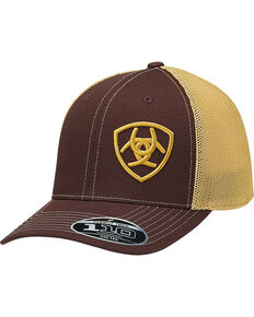 Ariat Men's Brown Large Offset Shield Baseball Cap , Brown, hi-res
