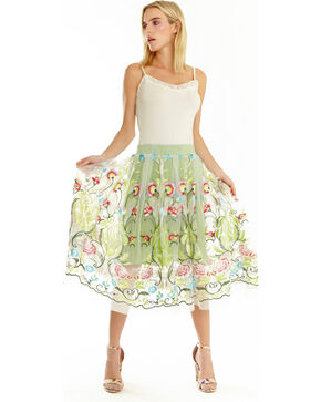 Aratta Women's Abigail Embroidered Skirt , Green, hi-res