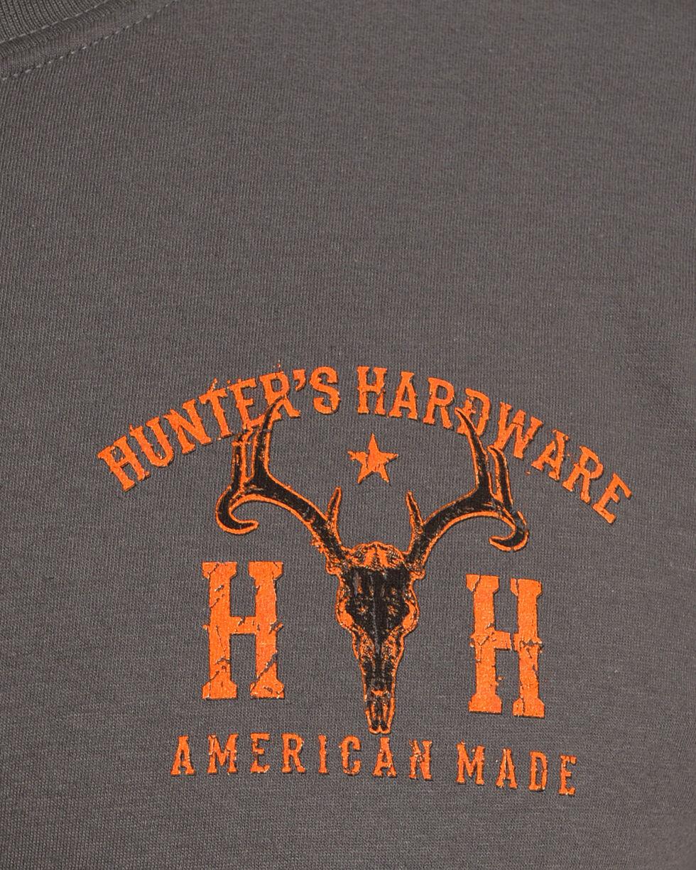 Cowboy Hardware Men's Charcoal Hunter's Hardware Flag & Skull Tee , Charcoal, hi-res