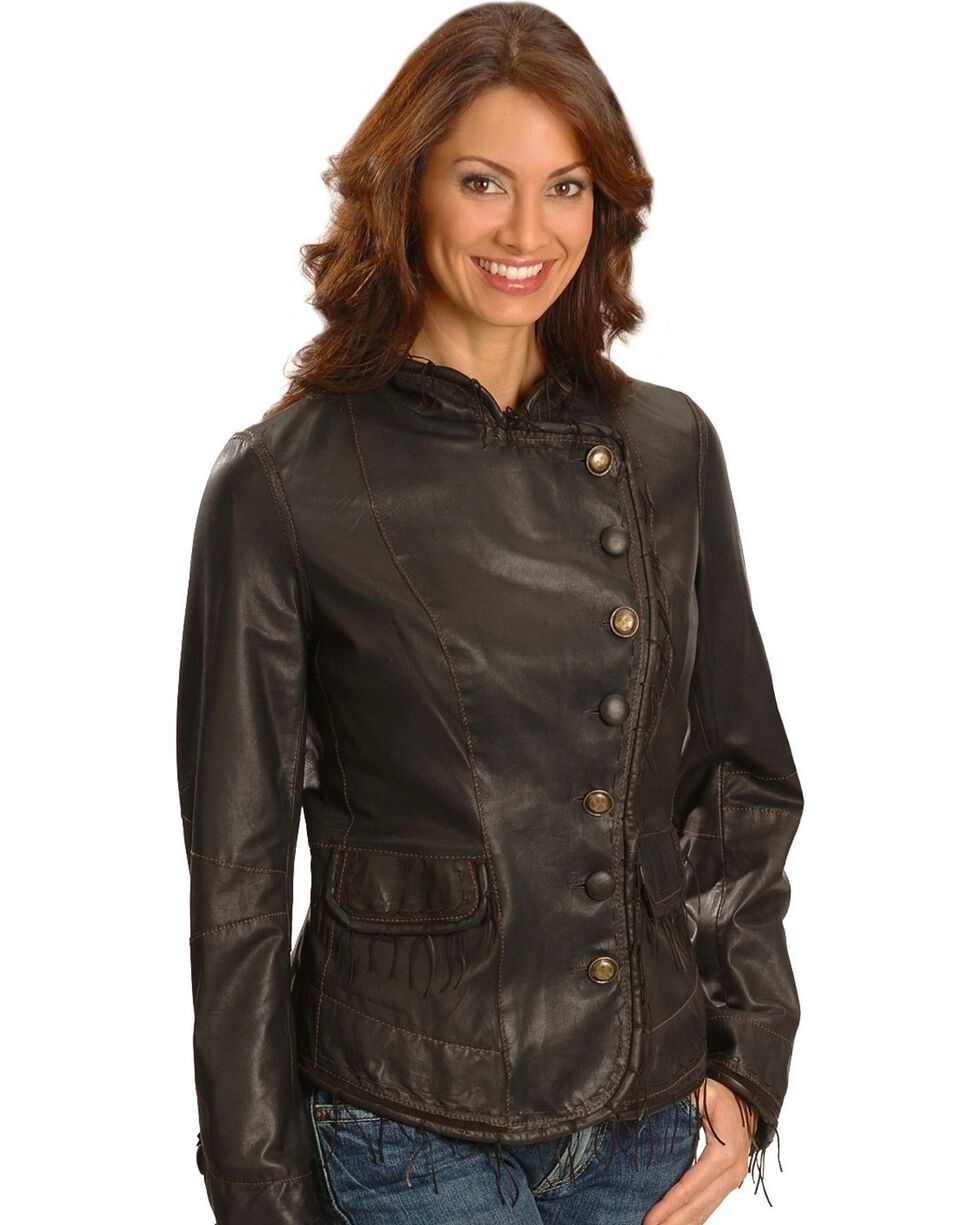 Scully Lambskin Leather Jacket, Chocolate, hi-res