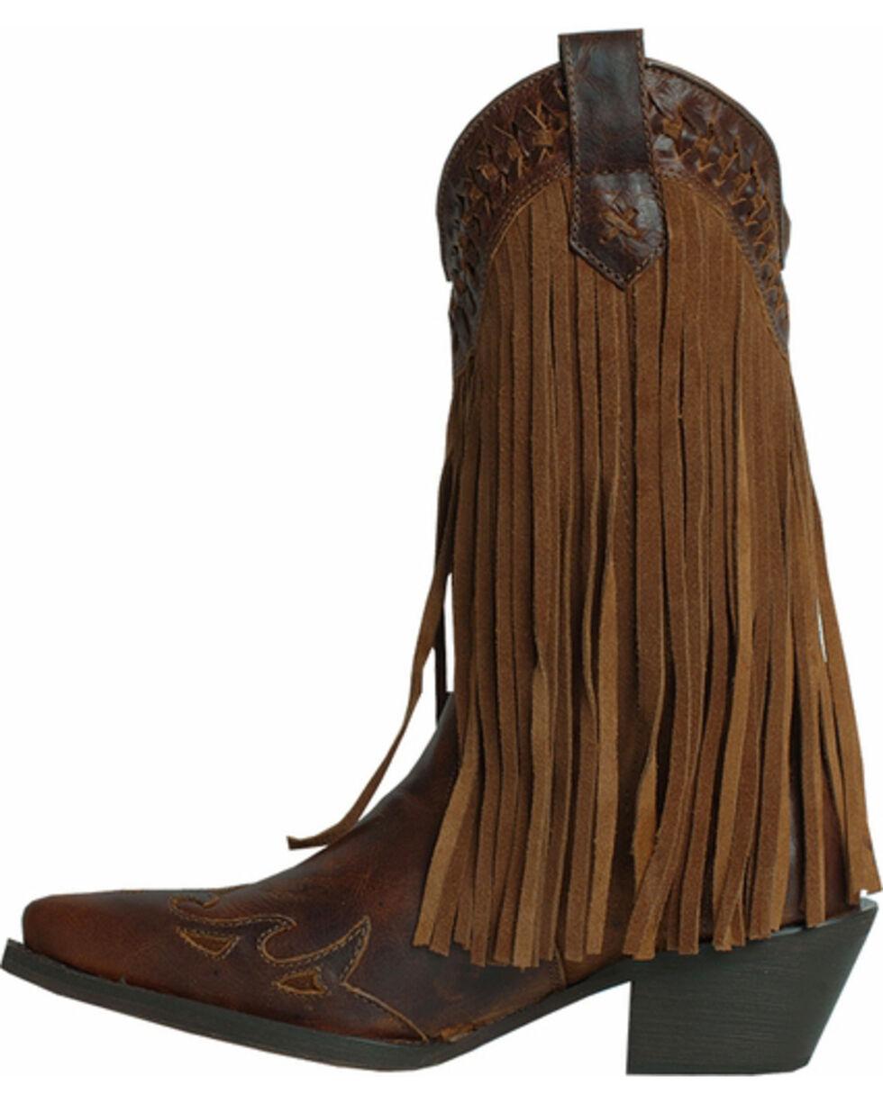 Dingo Heart Throb Fringe Cowgirl Boots - Snip Toe, Dark Brown, hi-res