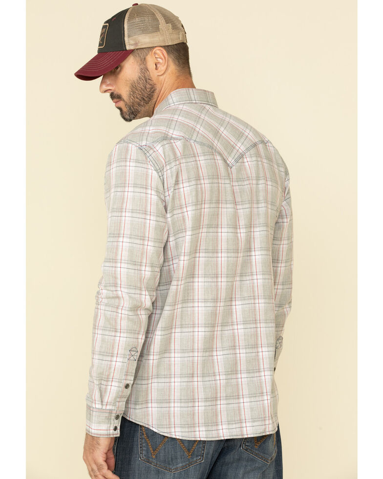 Moonshine Spirit Men's Spaced Out Plaid Long Sleeve Western Shirt , Grey, hi-res