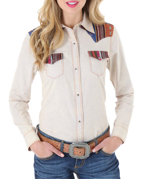 Wrangler Women's Tapestry Long Sleeve Snap Shirt, Tan, hi-res