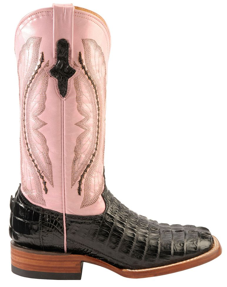 Ferrini Black Hornback Caiman Cowgirl Boots - Wide Square Toe, Black, hi-res