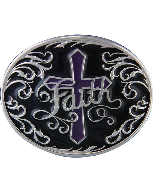Montana Silversmiths Deep Faith Attitude Cross Buckle, Silver, hi-res