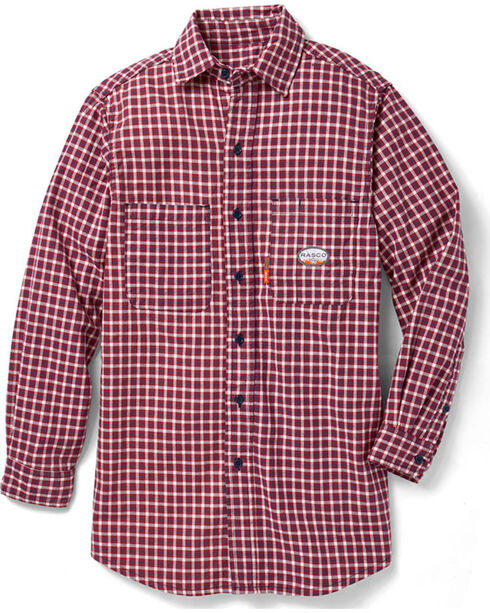 Rasco Men's Flame Resistant Long Sleeve Plaid Work Shirt, Red, hi-res