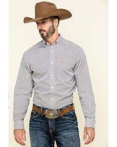 Ariat Men's Wrinkle Free Cleary Geo Print Long Sleeve Western Shirt , Grey, hi-res