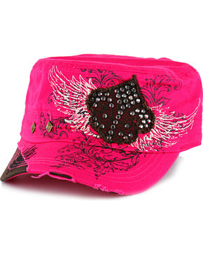 Savana Women's Studs and Rhinestones Military Hat , Hot Pink, hi-res