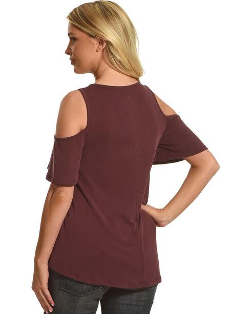HYFVE Women's Marsala Short Sleeve Cold Shoulder Knit Top, Burgundy, hi-res