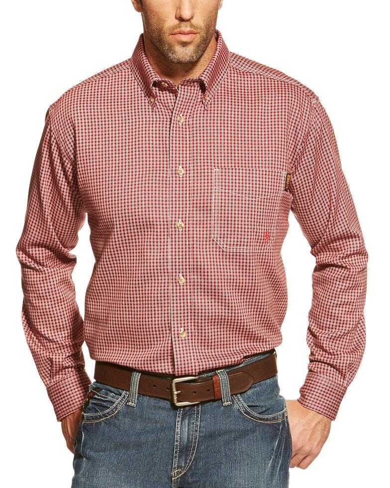Ariat Men's FR Wine Check Plaid Long Sleeve Work Shirt, Wine, hi-res